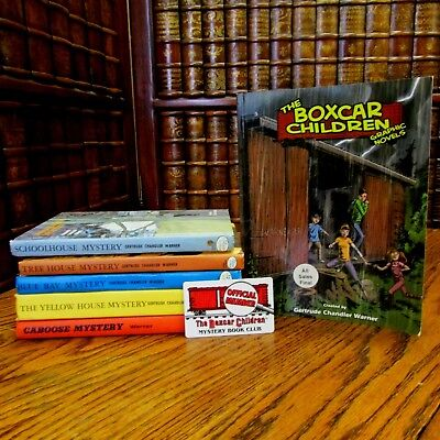 Boxcar Children, lot of 5 Vintage Hardcover, plus one Graphic Novel, & card