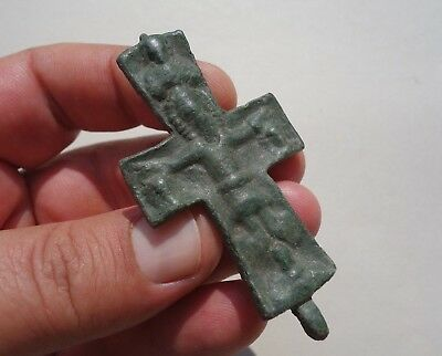 ancient late Roman / Byzantine bronze cross,displayed a Jesus in crucified