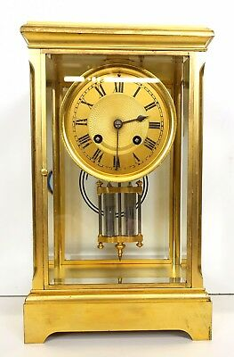 French Four Glass Crystal Regulator Clock By Japy Freres Retail E Streeter Paris