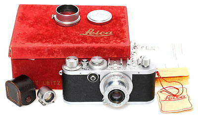 Leica If camera Set w/ Leitz Elmar 3.5/5cm, 5cm chrome finder SBOOI, red boxed