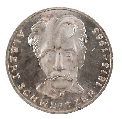 1975 G Germany 5 Deutsche Mark Albert Schweitzer Silver Coin
