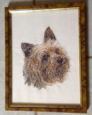 Wonderful original coloured thread 'painting' of a Cairn (or Yorkshire?) terrier