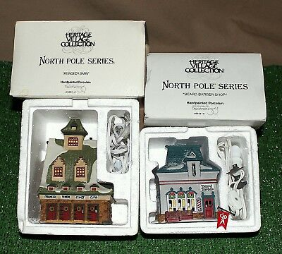 "2 -Dept 56 North Pole ""BEARD BARBER SHOP #56340 & REINDEER BARN #56014"" NICE NR"