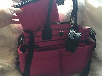 Betsey Johnson Be Mine Baby Diaper Bag Tote Weekender 3 pc Quilted Hearts NWT