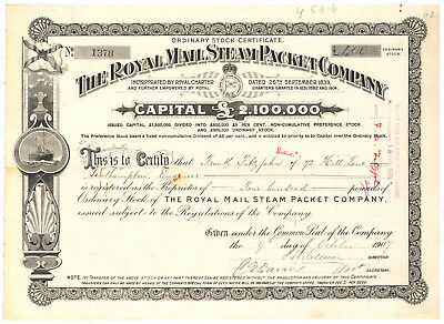 Royal Mail Steam Packet Company. Stock Certificate 1907