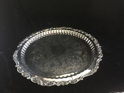 Wallace Silverplate #228 BAROQUE 17 1/4 Inch ROUND SERVING PLATTER  Tray