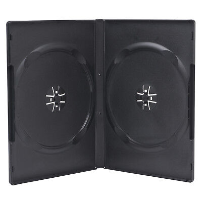 1 Premium Standard 14mm Black Double DVD Case with Clear Overlay Holds 2 Disc
