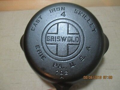 Vintage Griswold Cast Iron Skillet #4 with Large Block Logo, P/N 702 Erie, PA