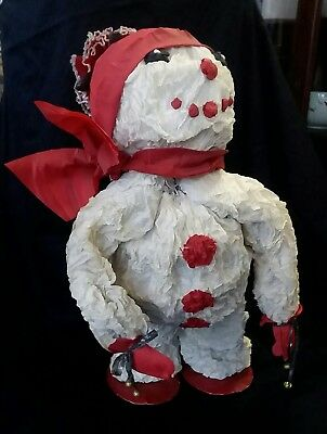 """Large 26"""" Vintage 1950's  Handmade Cray Paper Snowman Store Display"""
