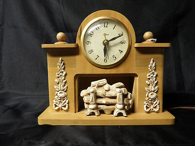 Vintage United Lighted Fireplace Electric Clock Model 419