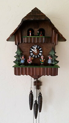 Vintage Black Forest 1-Day Musical Cuckoo Clock with Dancers and Oompah Band.