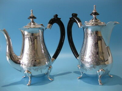 Beautiful Antique Set Empire Style Silver Plated Coffee Pot & Hot Chocolate Pot