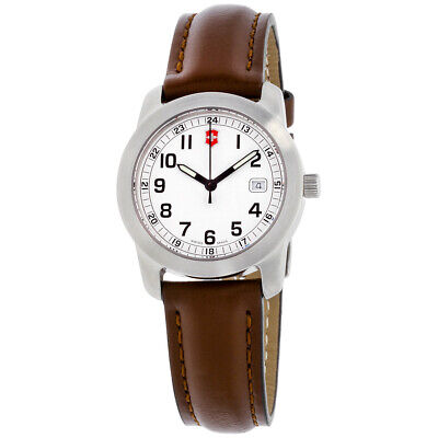 Victorinox Field White Dial Leather Strap Ladies Watch 26005CB