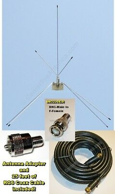 Outdoor Scanner antenna + 25' of cable, BNC  for Uniden Bearcat and Homepatrol