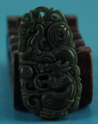 Exquisite Chinese old green jade Manual sculpture dragon statue pendant /10  85