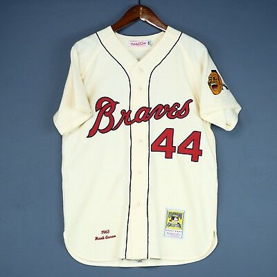100% Authentic Hank Aaron Mitchell & Ness 1963 Braves MLB Jersey Size 40 M