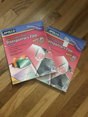 """Apollo Quick Dry Ink Jet Printer Transparency Film 100 Sheets 8.5x11"""""""