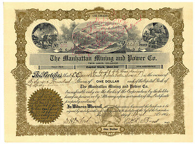 Manhattan Mining and Power Co. Stock Certificate. Twin Lakes, Colorado. 1906