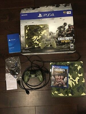 PlayStation 4 Slim 1TB Limited Edition Console Call Of Duty WWII Bundle COD