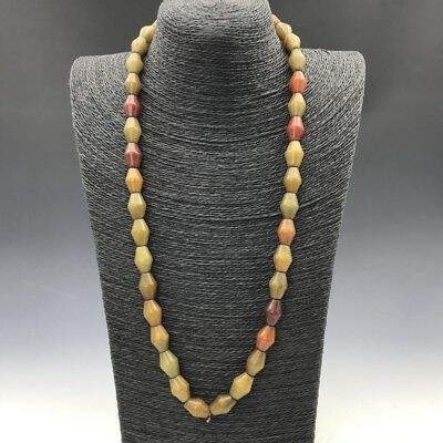 Chinese ancient jade antique 100% natural hand-carved old jade necklace a764