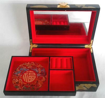 Antique Jewelry Wood Box Chinese Lacquer Flower Vintage Handcraft With Mirror