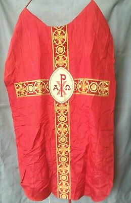 """Vintage Red & Gold Pax Embroidered Chasuble Catholic Priests Robe  42"""" W/ Stole"""