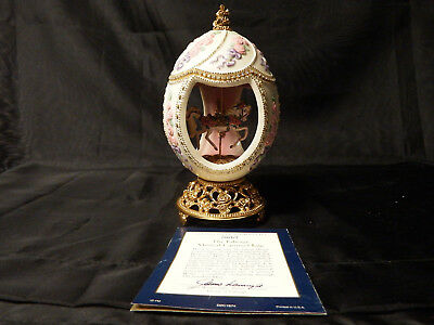 Franklin Mint TFM House of Faberge Egg Carousel Horse Rose White Gold Music Box