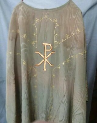 """Vintage Green & Gold Embroidered Chasuble Catholic Priests Robe  Vestment 44"""""""
