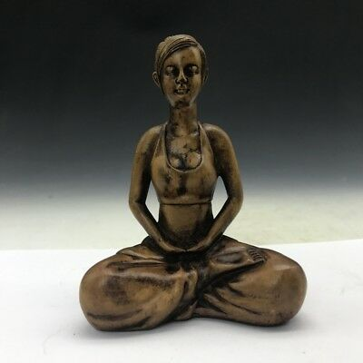 Chinese antique--- hand-carved boxwood statue -- Beautiful woman statue.   b891