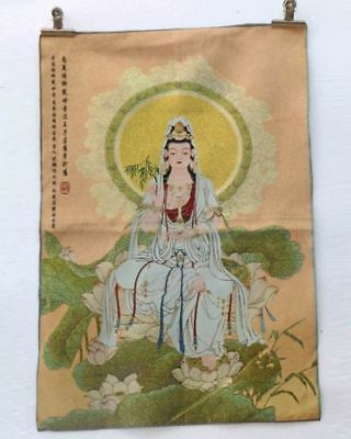 Tibet Collectable Silk Hand Painted Kwan-yin Painting Thangka