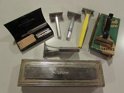 Lot 7x Vintage Safety Razors. DARWIN, Valet, Enders, Gem, Eversharp, Travel