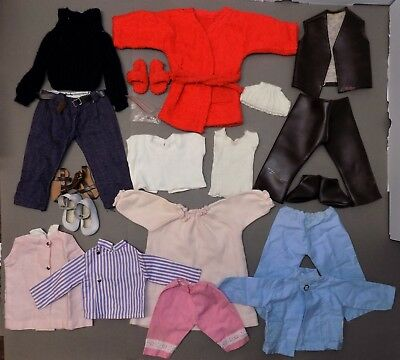 1970s 16-INCH SASHA DOLL CLOTHING/OUTFIT LOT London leather bathrobe denim shoes