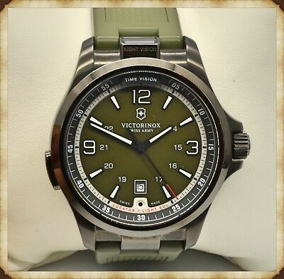 Victorinox Night Vision Olive Green Dial Rubber Strap Men's Watch 241595