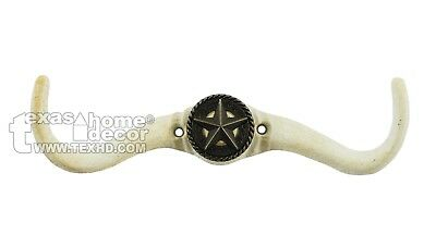 Cast Iron Longhorn Steer Hook Coat Hanger Silver Star Concho Rustic Off-White
