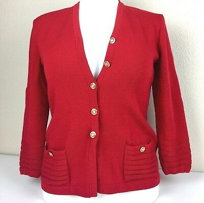 St John Collection Marie Gray Santana Knit Jacket Red Button Front Small Flaws