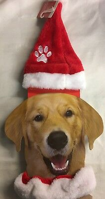 Dog Novelty Fluffy Red & White Paw Print Santa Hat and Collar
