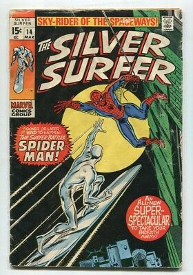 THE Silver Surfer #14 Vol 1  GD  1970 Marvel SPIDERMAN John Buscema