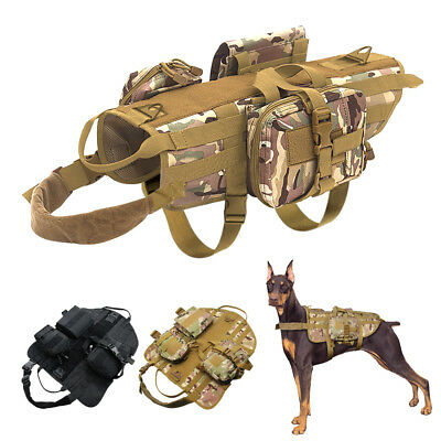 Police Dog Tactical Training Dog Harness K9 Military Molle Nylon Vest &3 Bags