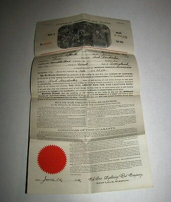 1915 FRANKLIN LIGHTNING ROD WORKS SALES PAPER Guarantee Cole Bros
