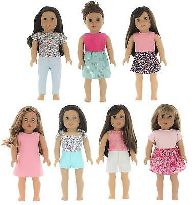 """PZAS Toys 7 Outfit Set, Compatible with American Girl Doll Clothes and Other 18"""""""