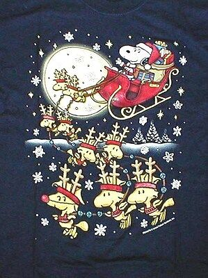 Snoopy And Woodstock Christmas.Peanuts Snoopy Woodstock Christmas T Shirt Ss Reindeer Sleigh Blue Mens Lrg
