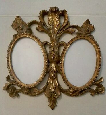 Ornate Carved Rococo Style Antique Gold Double Oval Wood Frame Glass Plated