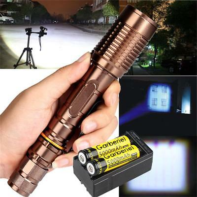 90000Lumens Zoomable T6 5-mode LED Flashlight Aluminum +18650 Battery+Charger