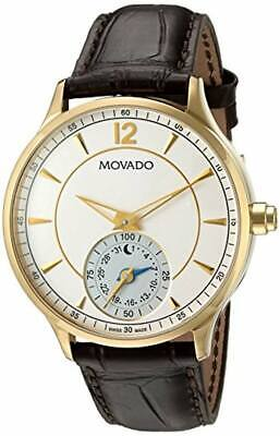 Movado Men's Swiss Quartz Gold-Tone and Leather Watch, Color:Brown (Model: 06600