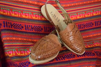 2d16279d2a85 CLASSIC Women s MEXICAN SANDALS CLOSED Toe Brown  2 Flats Huarache Sandal  strap