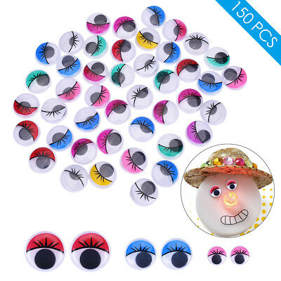 150PCS Round Eyes Plastic Self-adhesive Toy Accessories Diameter 2cm 1.5cm 1cm