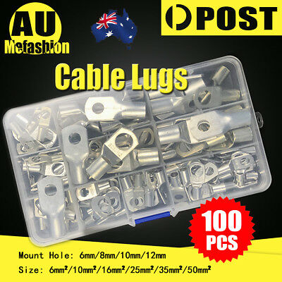 100 Copper Cable Lugs Kit 6mm 10mm 16mm 25mm 35mm 50mm Battery Terminal 4WD AU