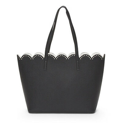 EMPERIA Black Laser Cut Perforated Scalloped Edge Saffiano-Textured Tote Bag NWT
