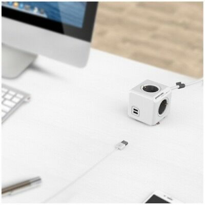 allocacoc PowerCube Extended USB inkl. 3 m Kabel grau Type F -