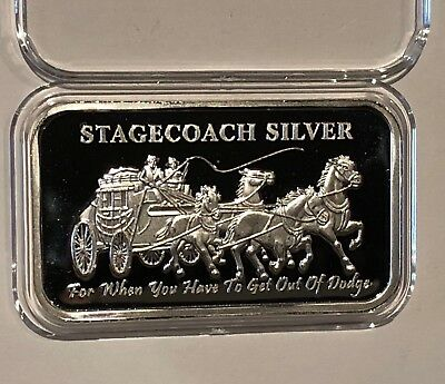 Stagecoach Divisible Proof Like Bar 1 Troy Oz .999 Fine Pure Silver Ingot Medal